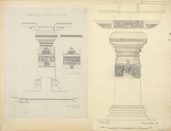 Ellora: Pilaster in west wing of Indra Sabha (left), Pillar in Indra Sabha (right)